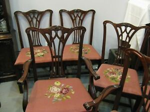 Mahogany Vintage Dining Room Chairs Six Needlepoint Very Sturdy Pick Up