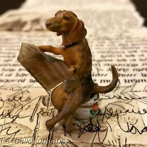 Antique Austrian Cold Painted Vienna Bronze Dachshund Going In Chamber Pot Read