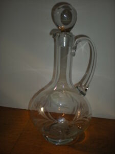 1800 S Victorian Wine Decanter Heavy Ball Stopper Etched Glass Flowers Antique