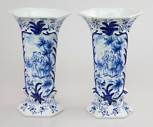 Pair Of Antique Dutch Delft Faience Vases With Figures