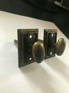 Pair Brass Cabinet Cupboard Door Twist Turn Privacy Thumb Latch Mortise Lock