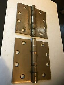 2 Vintage Brass Plated Shabby Chippy Arts Craft Deco 4 1 2 Mckinney Door Hinges