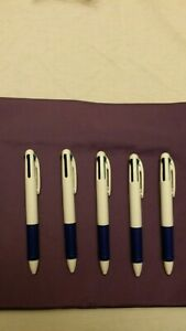 Lot Of 5 Misprint Retractable 4 color Ink Plastic Ballpoint Pens With Clip