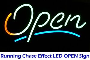 Storefront Moving Led Open Sign Signature Effect Animated Running Display On Off