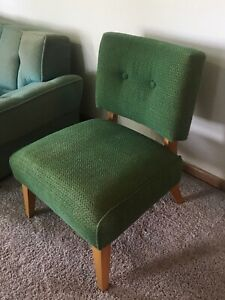 Mid Century Modern Side Chair Vintage Frieze Fabric