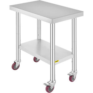 Commercial 18 x30 stainless Steel Work Prep Table With 4 Wheels Kitchen