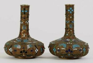 Pair China Chinese Champleve Mixed Metal W Thick Enamel Decor Vases 20th C