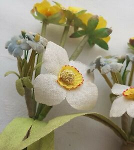 Vin Corsage Millinery Flower Fabric Daffodil Forget Me Knots Velvet French
