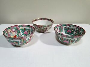 3 Chinese Famille Rose Medallion Rice Bowls