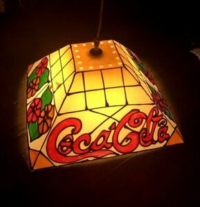 Vintage Coca Cola Hanging Tiffany Stain Glass Look Light Hanging Lamp Fixture