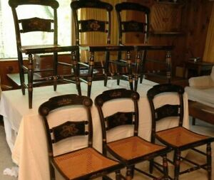 Hitchcock Dining Chairs With Hand Caned Seats Original 19 Century Antiques