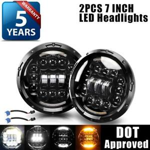 2pcs Dot 7 Round Led Headlights Halo Black For Porsche 911 912 914 924 928 944