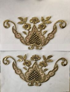 A Pair Of Antique Ottoman Turkish Gold Metallic Hand Embroideries F Applique N0