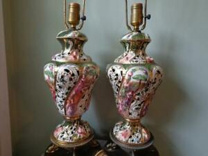 Pair Of Antique Capodimonte Porcelain Reticulated Brass Base Table Lamps