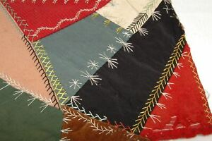 Embroidered Crazy Antique Quilt Piece Detailed Stitching Study E6