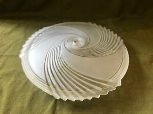 Large Vintage Art Deco Frosted Glass Disc Ceiling Light Fixture