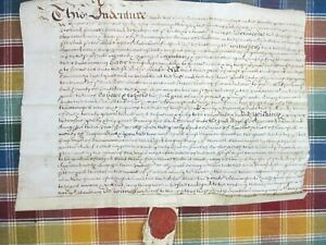 1692 Indenture On Vellum Parchment With Wax Seal England 17th Century