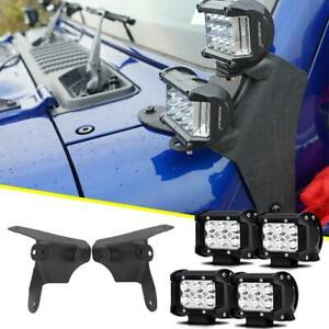 For Jeep Wrangler Jl A Pillar Black Dual Led Cube Light Mount 4x 36w Pods Set