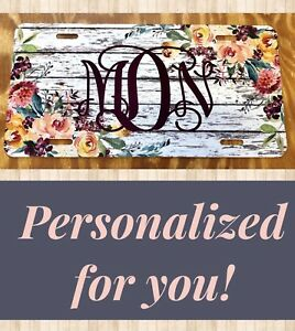 Personalized Distressed License Plate Rustic Wood Floral Custom Initials Car Tag