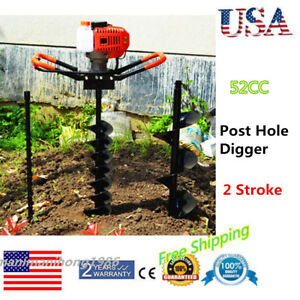 52cc Power Engine Gas Powered Post Hole Digger With 4 6 8 Auger Bits
