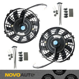 2x 7 Inch Universal Electric Radiator Od Slim Fan Push Pull 12v W Mounting Kit