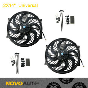 Box 2 14 Inch Universal Slim Fan Push Pull Radiator Cooling 12v With Mount Kit