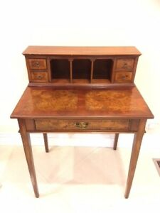 Antique Writing Desk Small Wooden Table Furniture With 5 Drawers