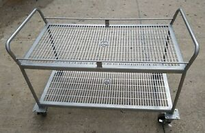 Stainless Steel Utility Cart On Wheels 24 X 48 Perforated Platform Deck 2 Shelf