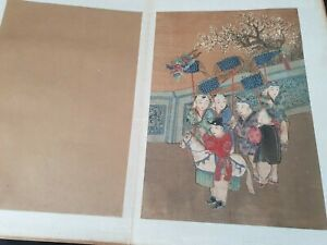 Antique 12 Chinese Album Paintings Children Playing