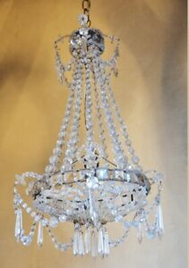 Incredible French Empire Beaded Basket Birdcage Antique Chandelier Gorgeous