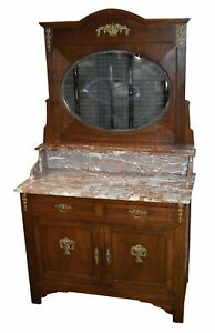 Antique French Marble Top Dresser And Mirror W Brass Ormolu