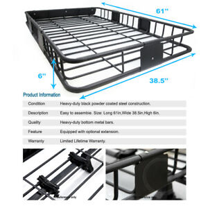 Suv Van Roof Top Rack Basket Storage Blk Steel extension Combo For Xa Xb Xd