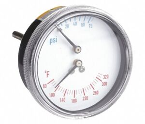 2 1 2 0 To 75 Psi Round Boiler Gauge With 1 4 Mnpt Center Back Connection