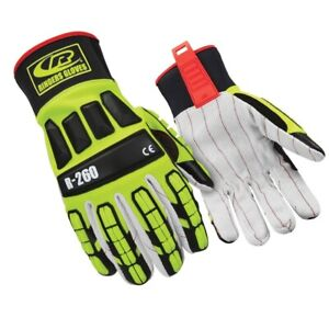 Ringers r 260 Roughneck Lime Hi viz Cut Lvl 2 Gloves Pair W Cotton Palm Lrg