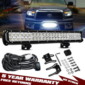 For 2007 2019 Toyota Tundra Bull Bar 20 Led Bumper Light Bar Offroad Combo Kit