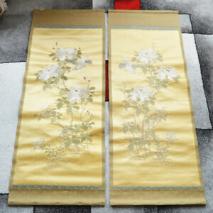 Antique Chinese China Japan Japanese Silf Embroidery Hanging Panel Yellow