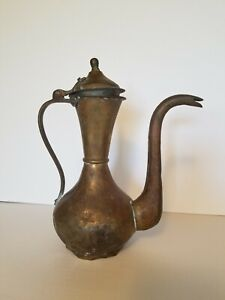Antique Imperial Russian Hand Hammered Copper Brass Coffee Pot Teapot Tula Mark