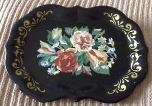 Vintage Tole Tray Black Hand Painted Metal Small 7 X 9 1 4 Pink Rose White
