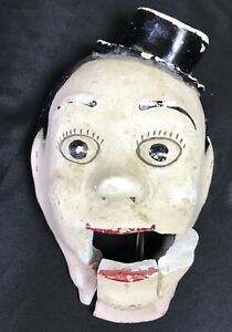 Primitive Ventriloquist Ooak Mans Facetheater Mouth Moves Prop Chalkware Display