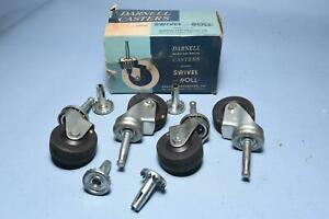 4 Vintage Darnell Caster Swivel Wheels New Old Stock