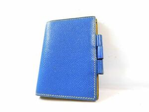 Hermes Mini Name Card Memo Diary Case Business Pass Id Wallet Leather Blue