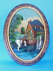 Antique Oval Reverse Painting Wooden Frame Bubble Glass Water Mill 23 X 17