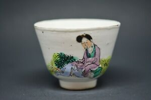 Chinese Antique Porcelain Tea Cup 2 Inches Tall