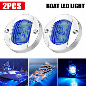 2x Round Marine Boat Led Courtesy Lights Cabin Deck Stern Navigatioin Light Blue