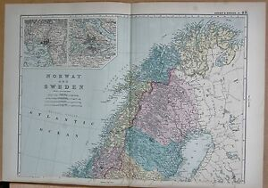 1890 Large Victorian Map Norway And Sweden Inset Stockholm Christiania