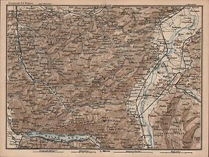 1873 Baedeker Antique Map Switzerland Appenzell Liechtenstein Herisau