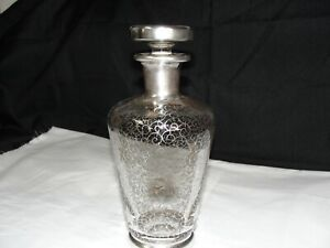 Antique Saint Graal Crystal Decanter Sterling Silver Overlay France Circa 1900