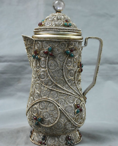 10 8 Tibet Nepal Buddhism Crystal Silver Wire Inlay Gem Handle Wine Pot Kettle