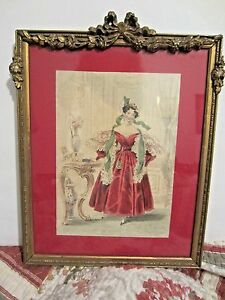 Vintage Barbola Gesso Frame Victorian French Print Roses Bows Swags Antique