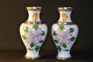 Chinese Vintage Pair Cloisonn Vases 10 25 Inches Tall